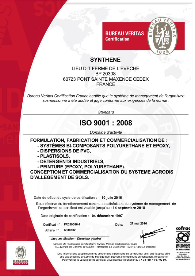 Certification Synthene® : NF EN ISO 9001